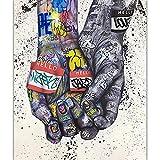 YWOHP Graffiti Wall Art Lover Kiss Lienzo Abstracto Pop Art Poster impresión en Lienzo Imagen de Arte de Pared para Sala de Estar decoración del hogar 40x60cm sin Marco