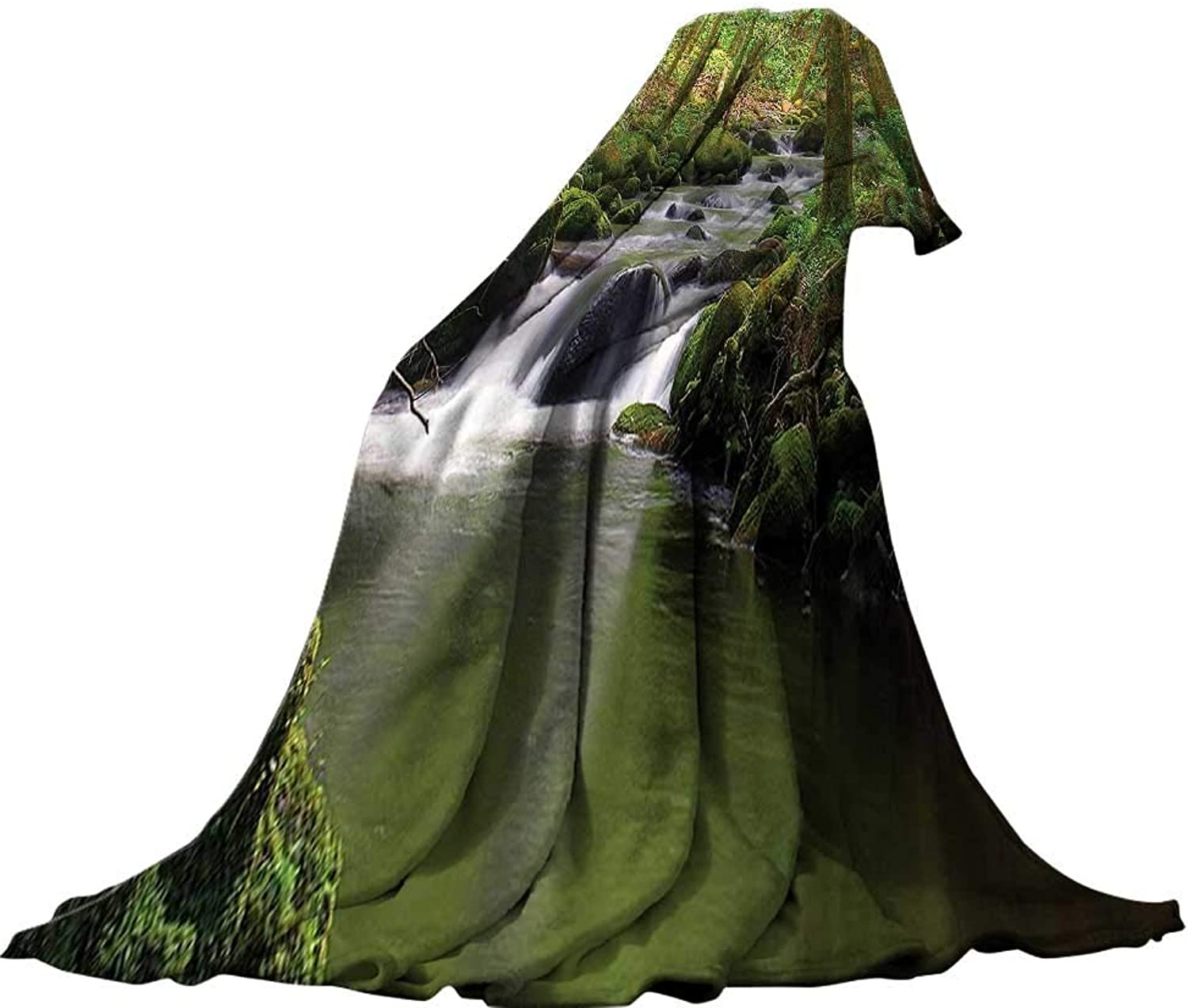 QINYAN-Home for Kids(62 x60 ) Summer Quilt Comforter Forest Lake House Decor Stream Flowing in The Forest Over Mossy Rocks Tree Foliage Splash Summertime Theme Hiking View Olive.