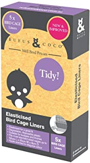 Rufus & Coco Elasticised Bird Cage Liners, 5 per pack, Degradable, disposable, 52cm L x 35cm W x 8cm D Apple scented to di...