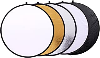 5 in 1 Photo Video Reflectors 12 inch (30cm) Collapsible Multi-Disc Light Round Photography Reflector with Bag -Translucen...