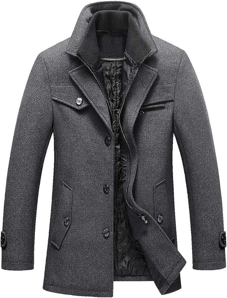 Litteking Men's Winter Pea Coat Casual Woolen Trench Coat Single Breasted Short Wool Jacket