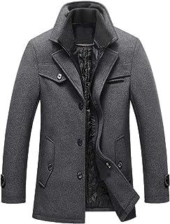 Lavnis Men's Winter Wool Coats Slim Fit Single Breasted Trench Jacket Woolen Pea Coat