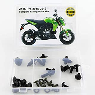 Xitomer Full Sets Fairing Bolts Kits, for Kawasaki Z125 Pro 2015 2016 2017 2018 2019, Mounting Kits Washers/Nuts/Fastenings/Clips/Grommets (Matte Black)