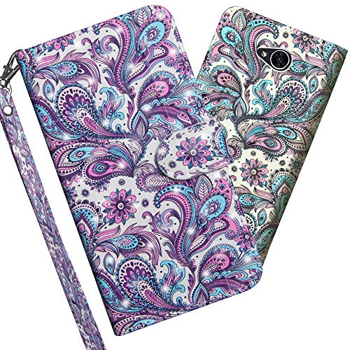 COTDINFOR pour LG X Power 2 Custodia Cover TPU 3D Effect Painted PU in Pelle con Wallet Card Holder Magnetico Ultrasottile Flip Custodia per LG X Power 2 Whirlpool Pattern YX