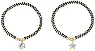 Archi Collection Hand rhinestone Crystal Brass Bracelet Bangle Style Round Star Mangalsutra for Women(White)