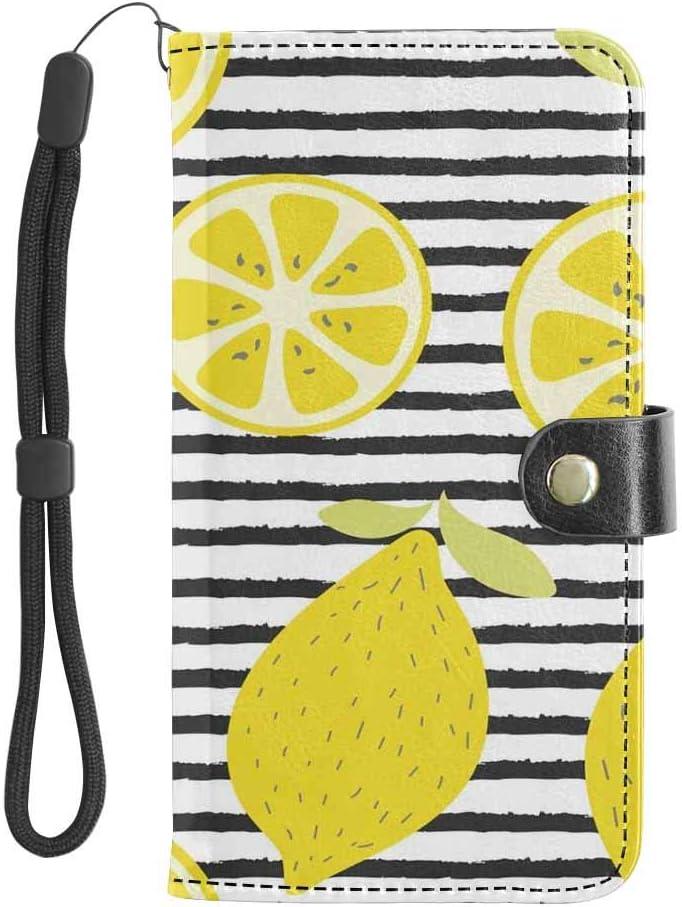 INTERESTPRINT Citrus Lemon Fruit Stripe Pattern Cell Phone Pouch Wristlet Wallet Bag Multi-Card Slot Purse Sleeve Large