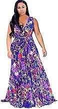 Photno Women's Dress Sleeveless Halter Neck Maxi Dress Vintage Floral Print Backless Beach Long Dresses S-XXL