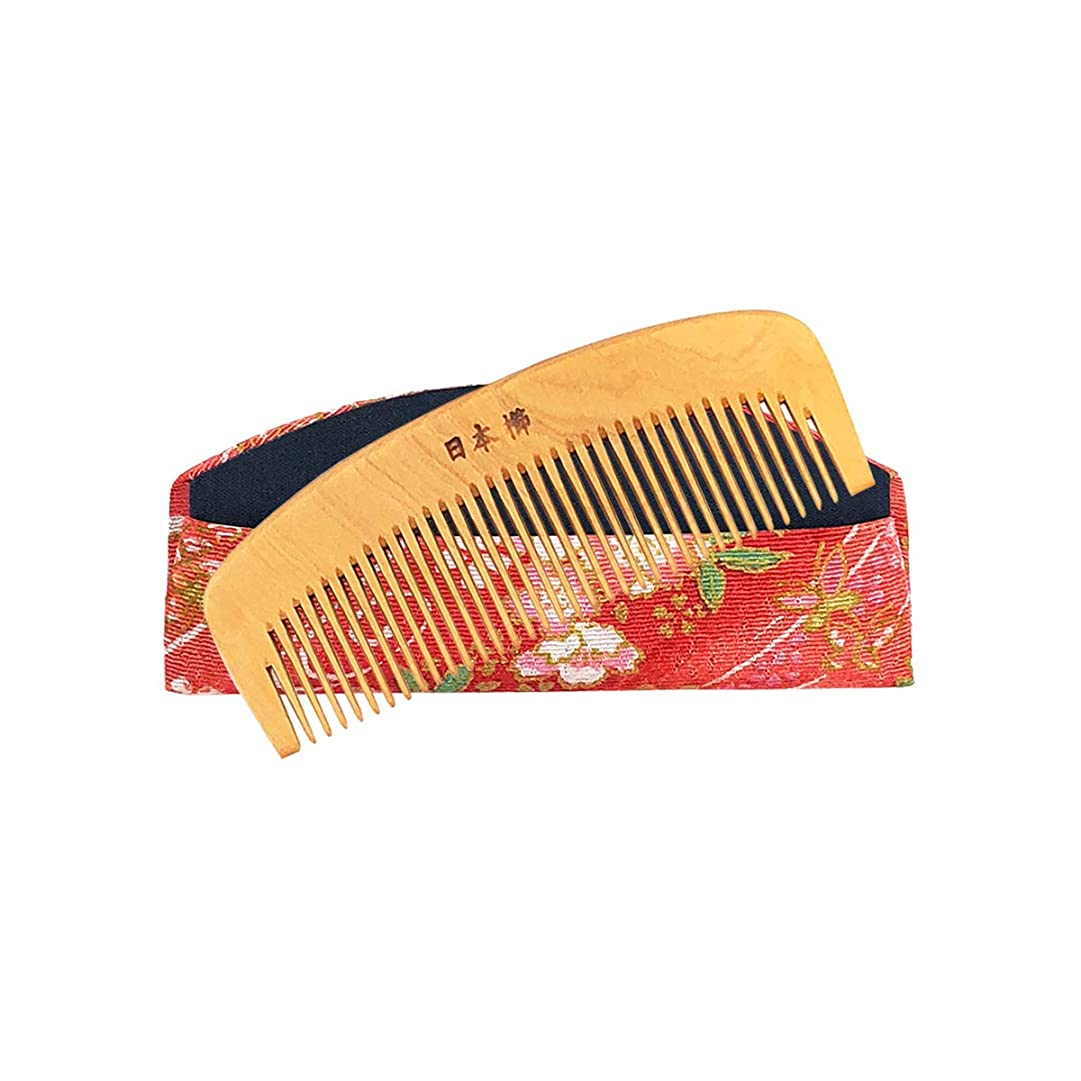 発明伝える測定本つげ櫛 3寸 とかし櫛 ケース付 椿油 静電気防止 つげ櫛 伝統工芸品 国産 日本製