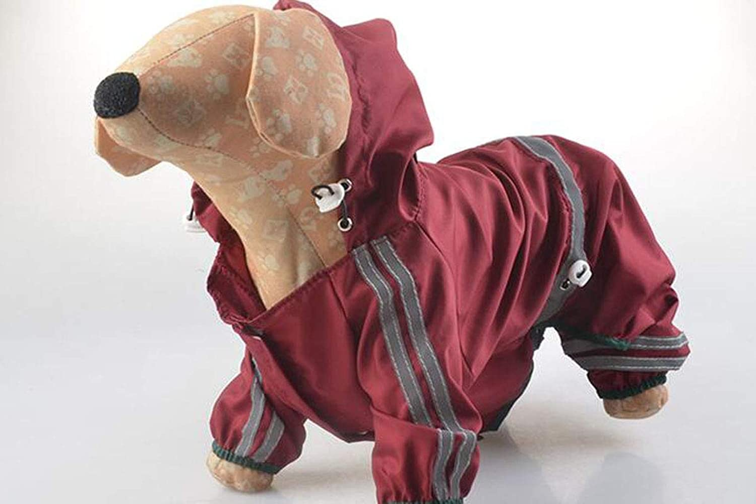 Hongyushanghang Pet Dog Raincoat, Medium and Small Dog Sunscreen Reflective Waterproof Poncho fine (color   Red, Size   XS)