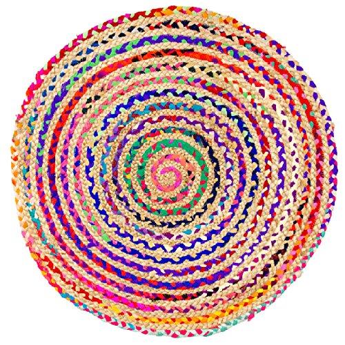 Morgenland Jute Tapis SISALO 125 x 125 cm Rond Kelim Kilim tissé à la main laine vierge