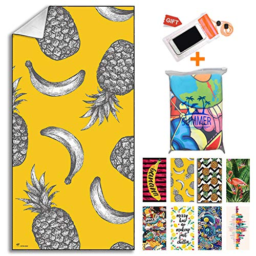 【2021NEW】 Microfiber Beach Towel, Absorbent Beach Blanket - 30 x 60, Compact, Sand Proof, Best Lightweight Towel for The Swimming, Sports, Travel, Beach - Gift Waterproof Case