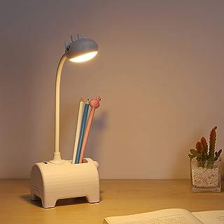Lámpara Escritorio, lámpara de escritorio recargable con puerto de carga USB y portalápices, atenuación en 3 modos de color, apta para oficina, hogar, dormitorio universitario