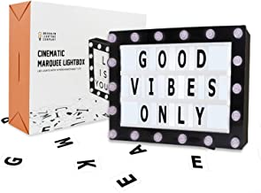Marquee Light Box, Cinema Light Box, Cinematic Light Box, Letter Light Box With 200 Letters, 32 LED Lights, 18 LEDs on Marquee, USB Cable, Size 16.5 x 11.8 x 2 (Renewed)