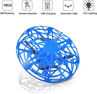 LEEHUR Mini Drones Flying Ball Toy for Kids UFO Quadcopter RC Helicopter Hand Controlled Obstacle Avoidance 360 Rotation Interactive Infrared Induction Flashing LED Lights