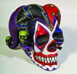 Pacific Giftware PTC 4 Inch Resin Jester Clown Color Skull with Hat Desktop Figurine