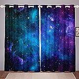Homemissing Cortinas térmicas para oscurecimiento con diseño de nebulosa y cielo estrellado de galaxia, para dormitorio, sala de estar, 66 x 90 cm