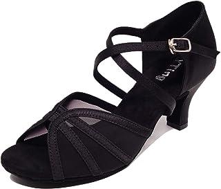 YYTing Zapatos de Baile de salón para Mujeres Latin Salsa Practice Social 6cm, 4cm Tacones YT03