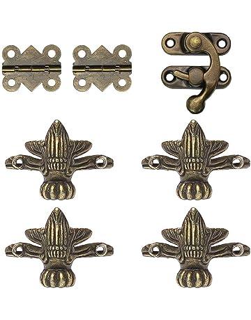 YUE QIN 8 Pcs Metallo Angoli Paraspigoli 4 Cerniere a Forma di Farfalla e 2 Hasp (Ottone)