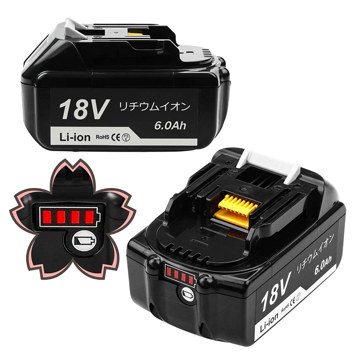 bl1860b マキタ 18V バッテリー マキタバッテリー マキタ18V 互換バッテリー 6000mAh 超高容量【2個セット】 4段残容量表示+ 自己故障診断 BL1830 BL1850 BL1860 BL1830b BL1850b BL1860b 18v マキタ バッテリー 対応 PSE認証取得済み 電動工具用バッテリー 安心の1年保証 無料交換可能 UPWAY