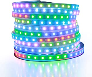 ALITOVE 32.8ft Addressable RGB LED Strip Light WS2811 Dream Color Digital Programmable Flexible LED Pixel Tape Light 24V 10m 600 LEDs 5050 SMD Waterproof IP67 Black PCB for Arduino Raspberry Pi