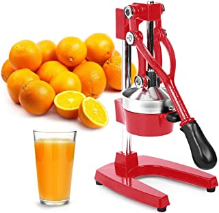 Zulay Professional Citrus Juicer - Manual Citrus Press and Orange Squeezer - Metal Lemon Squeezer - Premium Quality Heavy Duty Manual Orange Juicer and Lime Squeezer Press Stand, Red (Renewed)