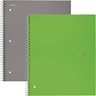 """Five Star Spiral Notebooks, 5 Subject, Wide Ruled Paper, 200 Sheets, 10-1/2"""" x 8"""", Gray, Lime, 2 Pack (38434)"""