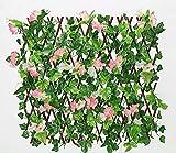 TCross Clôture de Bois Artificielle rétractable, avec des Fleurs et des Feuilles artificielles, Un abri, Un réseau étendu, Une clôture de Protection de la Grille, Une décoration de Jardin