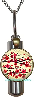 Blossom Charm -Flower Cherry Blossom Charm Cremation Urn Necklace Urn, Bridesmaid Jewelry-#185