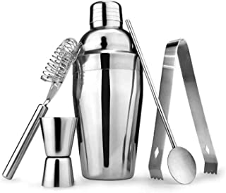 6pcs Cocktail Shaker Home Bar Set Stainless Steel Drink Mixing Bar Tools Kit 550ml