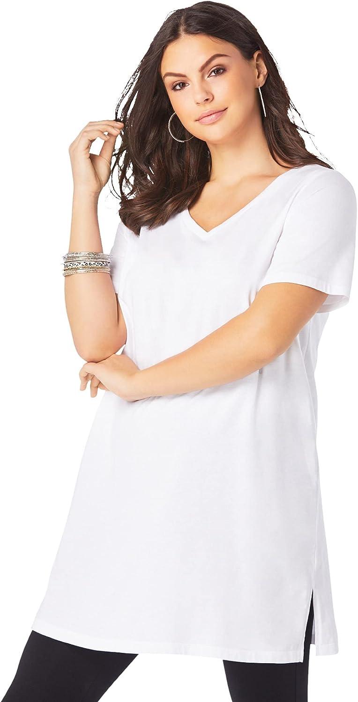 Roaman's Women's Plus Size Short-Sleeve V-Neck Ultimate Tunic Long T-Shirt Tee