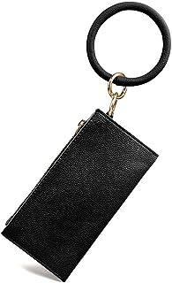 Women's Circle Keyring Wristlet Clutch Wallet, PU Wallet Bracelets Key Ring Zipper Clutch Purses with Bangle Keychain
