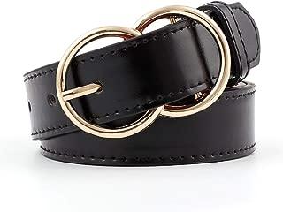 SGJFZD Double Ring Round Buckle Ladies Fashionable Belt Women Simple Wild Retro Fashion Black Pants Belt Female Students (Color : Black, Size : 110 * 2.9cm)