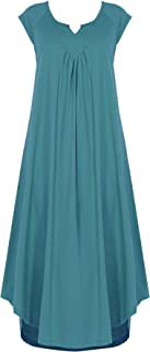 Ekouaer Sleepwear Cotton v Neck Pajamas Sleeveless Long Nightgowns Women