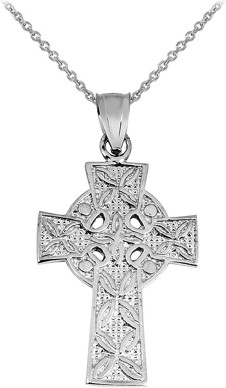 Solid 14k White Gold Irish Celtic Cross Trinity Pendant Necklace