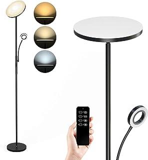 Anten Lámpara de pie LED regulable | Negro Lámpara de pie 30 W con lámpara de lectura flexible de 5 W | Moderno foco de techo 2000 lm con 3 temperaturas de color para salón, dormitorio, oficina, hotel
