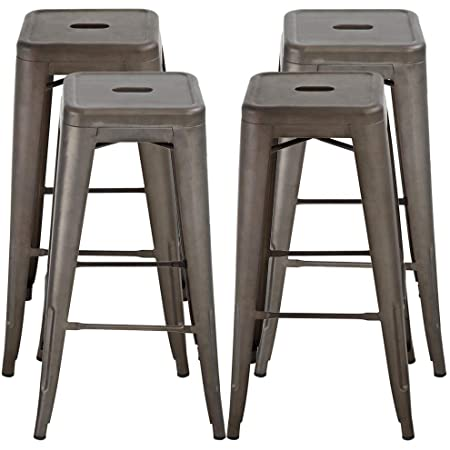Devoko Metal Bar Stool 30 Tolix Style Indoor Outdoor Barstool Modern Industrial Backless Light Weight Bar Stools With Square Seat Set Of 4 Blue Home Kitchen