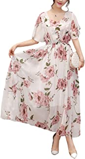 Womens Vintage Round Neck Floral Printed Casual Swing Tea Chiffon Maxi Dress