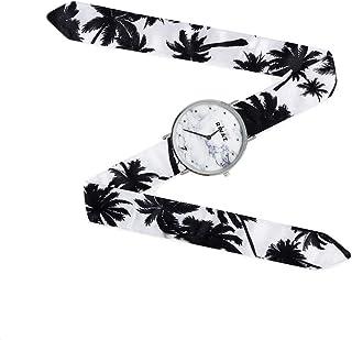 Montre Bracelet Foulard signée Gabriel Rivaz - Bracelet en Soie - Montre Fond marbré - Mécanisme Japonais - Coco Beach