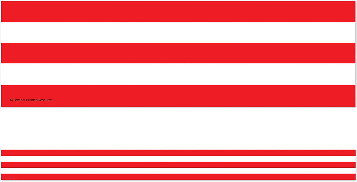 Teacher Created Resources 5489 Red Bo and Straight Many popular brands Sale Special Price Stripes White