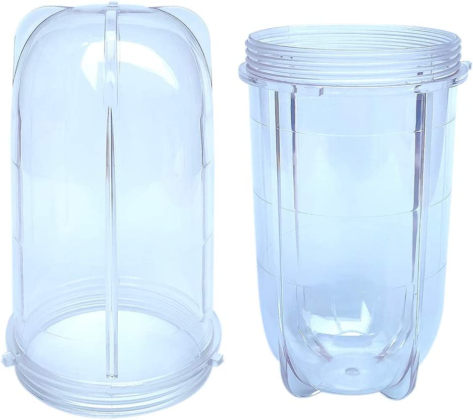 Veterger Replacement Parts 16 Ounce Tall Jar Cups,Compatible with Original Magic Bullet Blender Juicer MB1001 250W (2 Pack)