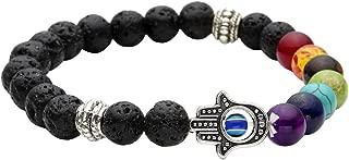 7 Chakras Gemstone Bracelet Lava Stone Essential Oil Diffuser Reiki Healing Balancing Round Beads