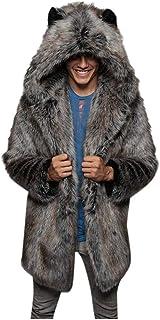Men Coat Parka Jacket Print Faux Fur Fluffy Jumpers Winter Warm Fashion Solid Hooded Outerwear Down Coat