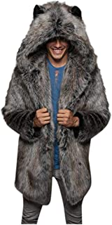 Mens Parka Coat Faux Fur Down Jacket Cardigan Fleece Soft Outwear Overcoat