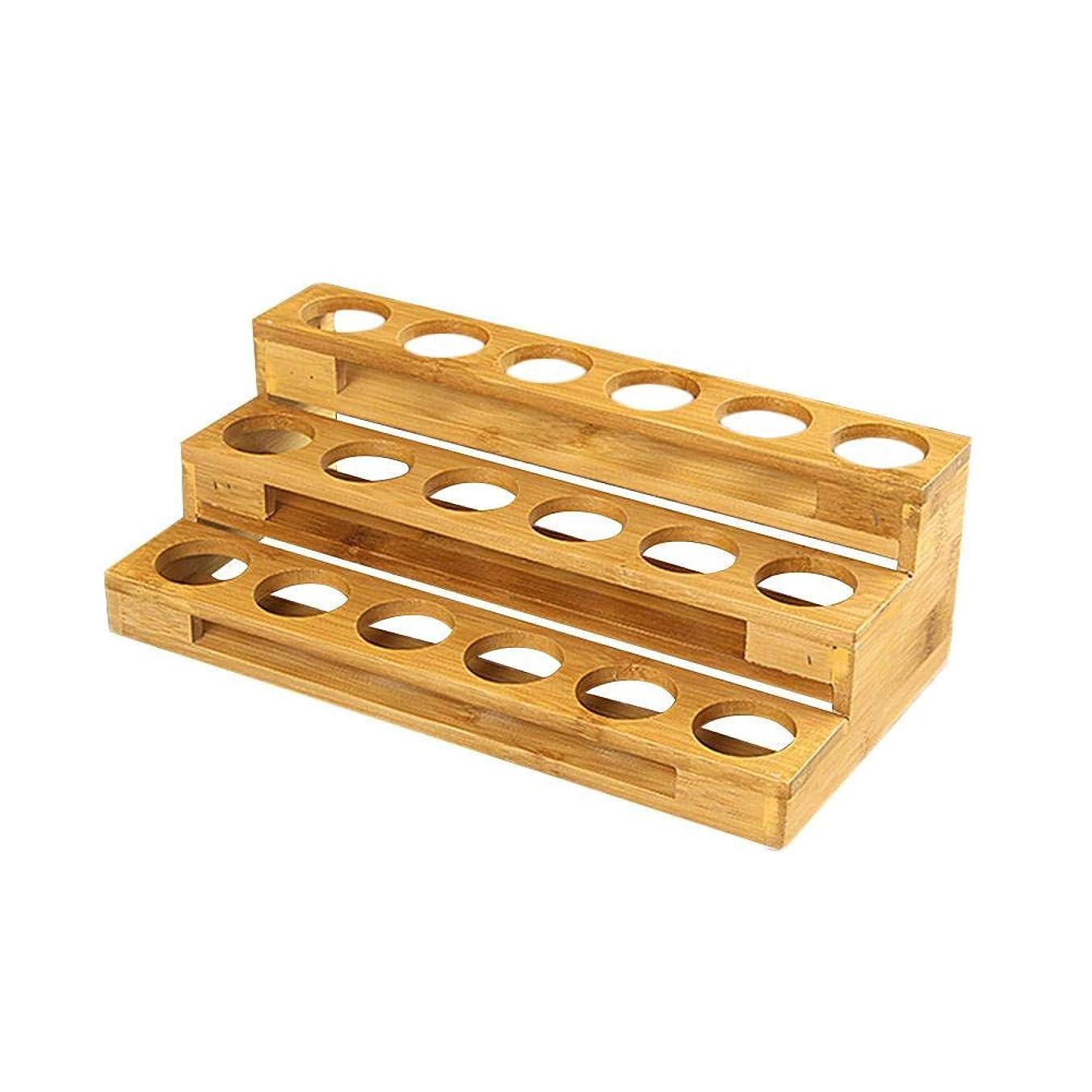 矩形確保する沈黙エッセンシャルオイル収納ボックス 自然木製 エッセンシャルオイルオイル 収納 ボックス 香水収納ケース はしごタイプ アロマオイル収納ボックス 18本用