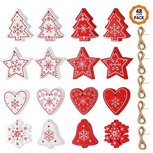 Kulannder 48 Piezas Decoraciones Colgantes de Madera de Navidad Adornos de Madera Etiquetas de árbol de Navidad Conjunto de decoración navideña de Madera para Adornos Colgantes de árboles de Navidad