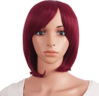MapofBeauty 12 Inch/30cm Women Short Straight Cosplay Party BOB Wig (Blood Red)