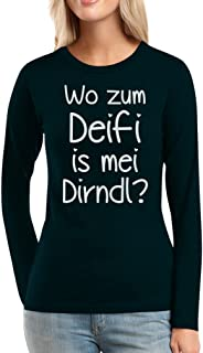 Shirtgeil Oktoberfest Dirndl T Shirt Spruch Wo zum Deifi is MEI Dirndl Frauen Langarm-T-Shirt