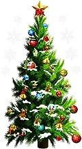 Yililay Kerstmuursticker, kerstboom, muursticker, geschenken, ster, sneeuwvlokken, muursticker, vinyl, vrolijk decor