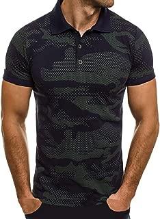 Men Camouflage Polo Shirt Stripe Splicing Pattern Casual Fashion Lapel Short Sleeve Blouse Top Beautyfine