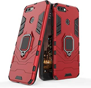 Compatible with Huawei Y6 (2018) Case, Metal Ring Grip Kickstand Shockproof Hard Bumper Shell (Works with Magnetic Car Mount) Dual Layer Rugged Cover for Huawei Y6 2018, Honor 7A (Red)